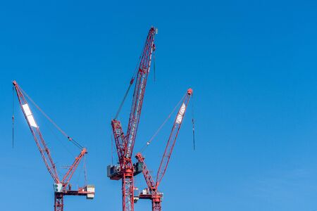 Multiple tower cranes above a concrete structure. The cranes consist of a steel construction with beams. They are widely used in the construction of tall buildings Reklamní fotografie