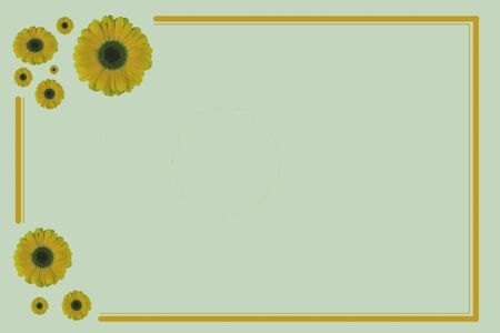 Gift card in color with flowers as decoration Standard-Bild