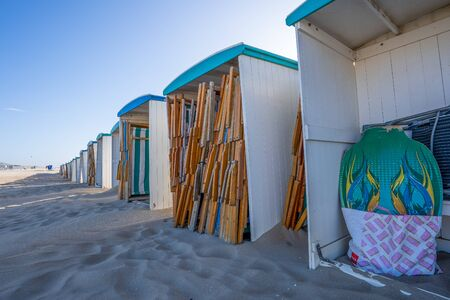 Along the beach of The Netherlands you can find lots of beach houses cabins. Normally they are occupied by tourists who stay there for the weekend or spen their holiday there, now they are often empty