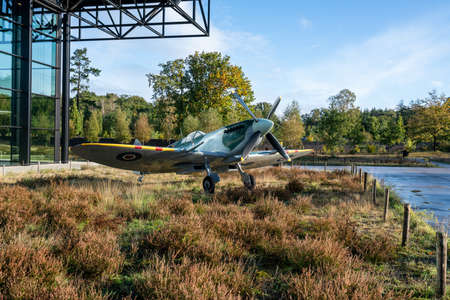 SOESTERBERG, NETHERLANDS - November 10, 2020: Supermarine Spitfire is a British single-seat fighter aircraft that was used by the RAF Editorial