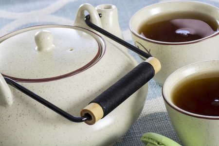 ceramic teapot with two cups of tea