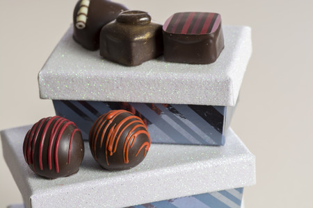 assorted shocolate candy with decorative  gift boxes Banco de Imagens