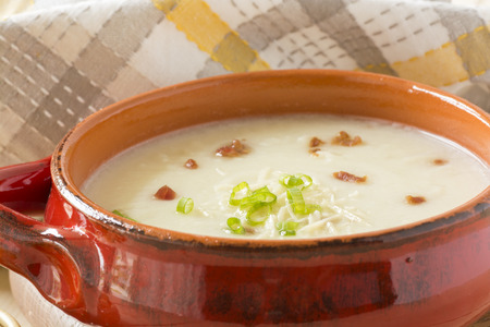 potato soup: Fresh cooked potato soup with bacon and cheese.