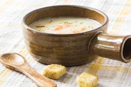 potato soup: Fresh cooked potato soup with shrimps. Stock Photo