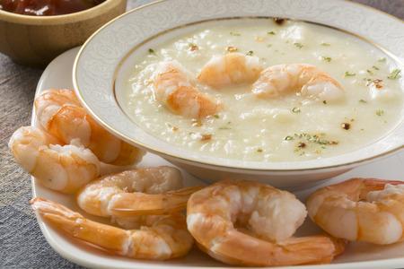 potato soup: Fresh cooked potato soup with shrimps..