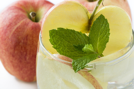 Closeup of glass of apple, mint infused water. Stok Fotoğraf