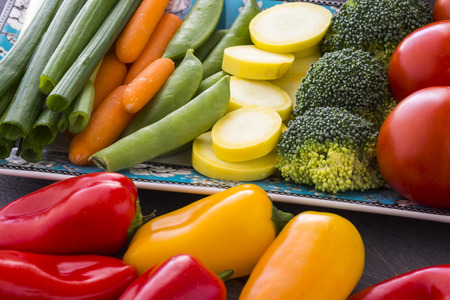 broccolli: Closeup of fresh assorted vegetables - ingredients for vegetarian dish.