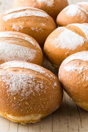 Closeup of fresh baked rolls.