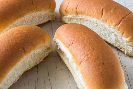 Closeup of fresh baked hot dog buns.