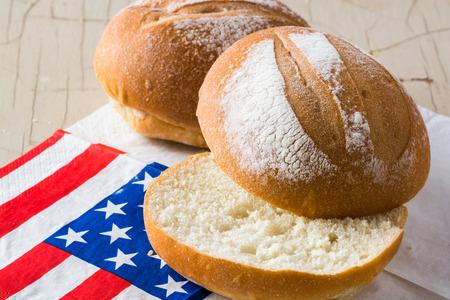 fresh baked: Closeup of cut fresh baked roll. Stock Photo