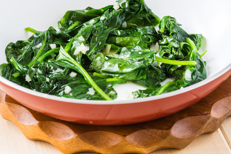 Fresh cooked spinach in a pan.