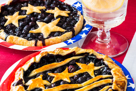 fresh baked: Closeup of homemade, fresh baked blueberry pies.