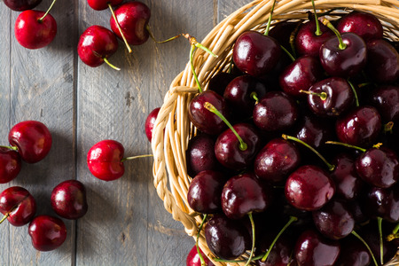 Closeup of cherries in a basket.