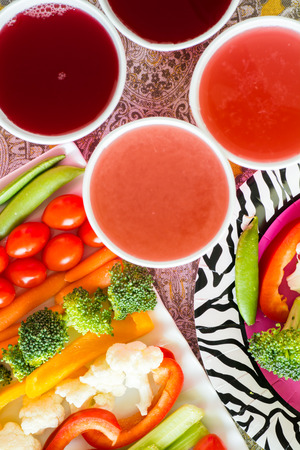 vegetable tray: Closeup of vegetable tray with assorted cut vegetables and dip. Stock Photo