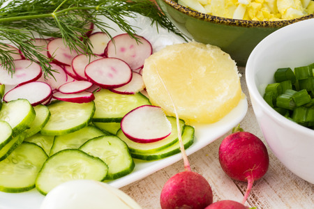 cold soup: Closeup of chopped eggs, green onion, cucumber and radish - ingredients for cold soup.