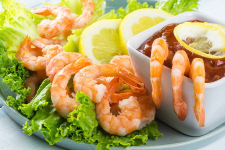 shrimp cocktail: Close up of shrimp cocktail.