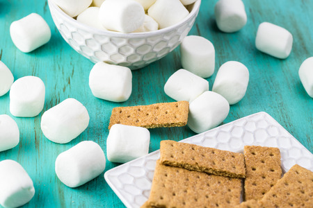 calory: Close up of ingredients for smores dip.