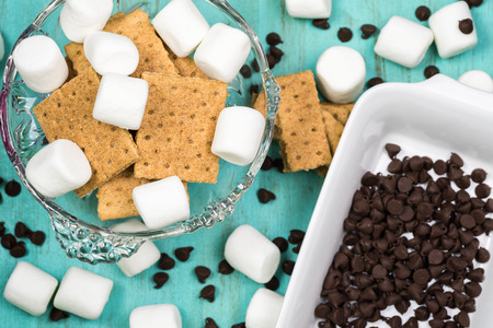 semisweet: Close up of ingredients for smores dip.