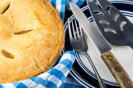 fresh baked: Close up of fresh baked peach pie. Stock Photo
