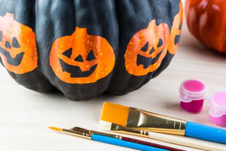 pumpkin: Close up of painted pumpkin for Halloween.