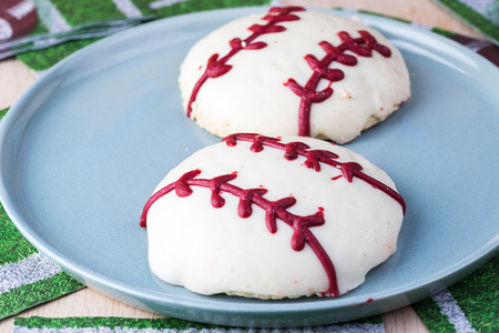 shaped: Close up of football shaped cookies. Stock Photo