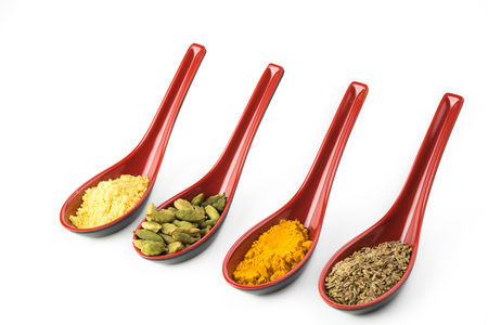 dill seed: Close up of assorted spices on white background. Stock Photo