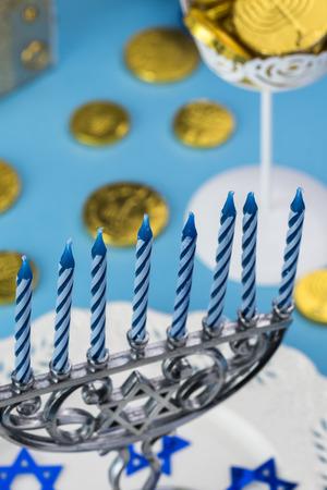 hannukah: Close up of Hanukkah menorah - Hanukkah symbol. Stock Photo