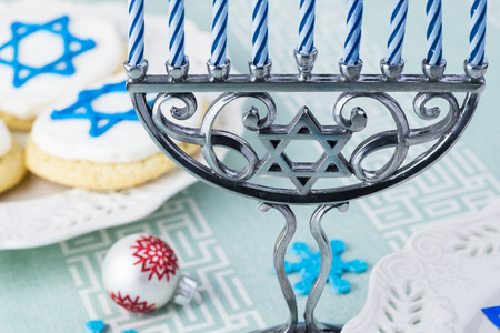 Close up of Hanukkah menorah - Hanukkah symbol. Stock Photo