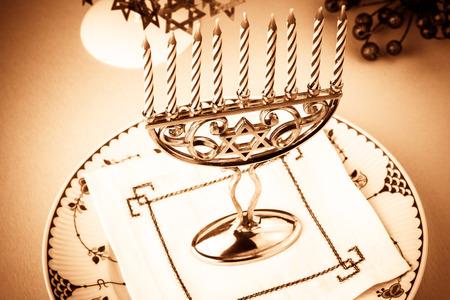 hanuka: Close up of Hanukkah menorah - Hanukkah symbol. Stock Photo