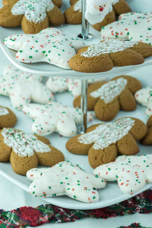 tiered: Close up of assorted Christmas cookies on a tiered server tray. Stock Photo