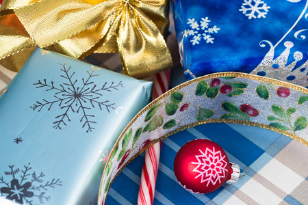 close up of christmas candy boxes gifts wrapped stock photo 50406322 - Christmas Candy Boxes