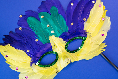 mardigras: Close up of mardigras mask on a blue background.
