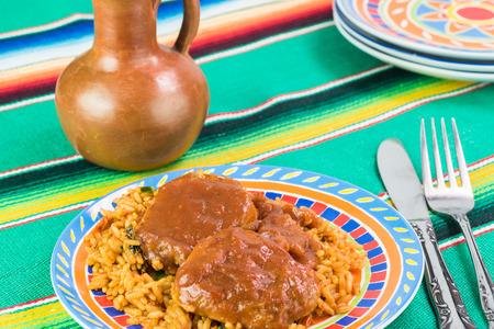 pork tenderloin: Close up of plate with pork tenderloin with adobo sauce and rice.