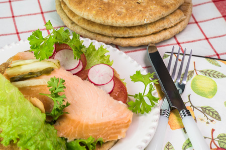 multi grain sandwich: Close up of pita sandwich with hot smoked salmon and vegetables on a white plate.