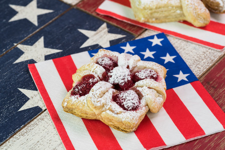 forth: Close up of berries cream cheese pastry for celebration Forth of July.
