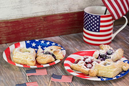 forth: Close up of berries cream cheese pastries for celebration Forth of July. Stock Photo