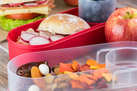 bento box: Close up of bento box with ham cheese sandwich, apple, cup with blueberries, trail mix snack. Stock Photo