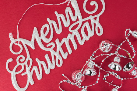 silver bells: Christmas greeting card with silver bells.