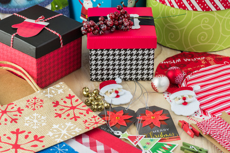 stuff: Christmas packaging stuff. Thread, tags, bows, bags, boxes.