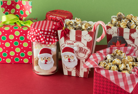 Cocoa Mix Jars And Caramel Popcorn Boxes Decorated For Christmas ...