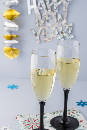 sparkling wine: Close up of glasses with sparkling wine for New Year party.