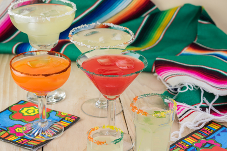 Close up of glasses with assorted margaritas cocktail.