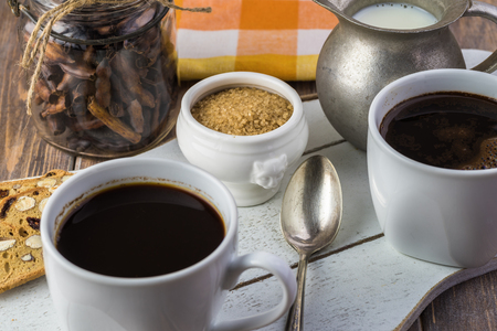 Close up of table with cups of delicious mesquite coffee.