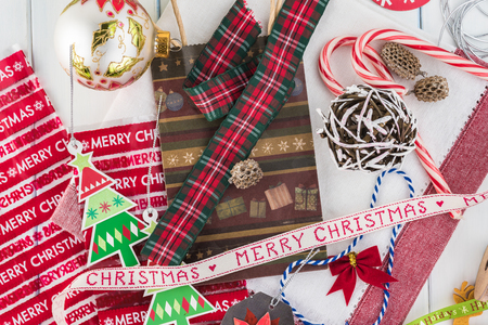 Top view of packaging stuff for christmas gift christmas bags
