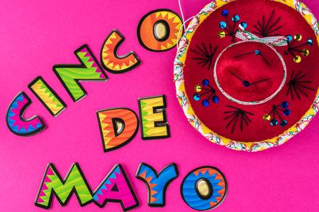 Cinco De Mayo bright background with  sombrero.