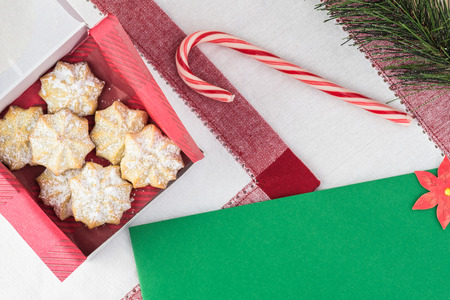 Box with butter cookies - gift idea for Christmas. Greeting card concept. Copy space.