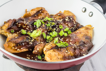 Roasted chicken breast with apricot jam soy sauce.