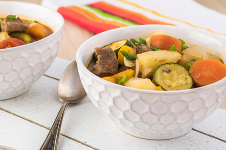 Hungarian soup goulash with roasted beef and vegetables.