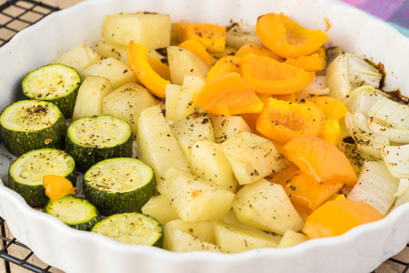 Roasted cut vegetables for hungarian soup goulash.