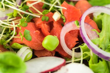 Close up of bowl of healthy  salad with smocked salmon. Stock Photo